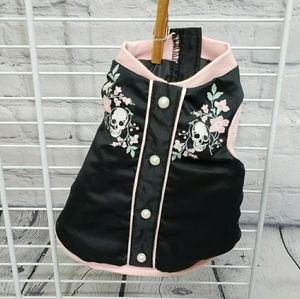 Dog Jacket Skulls & Flowers Black Pink Silky XXS